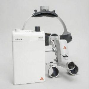 Фотография Heine ML4 LED HR 2.5x - налобный светодиодный осветитель ML4 LED в комплекте с бинокулярными лупами HR 2.5x и защитным щитком S-Guard | Heine (Германия)