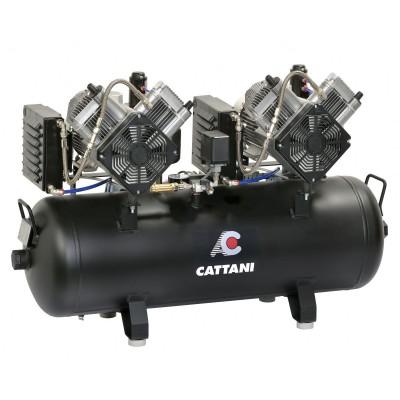 Фото - Cattani 100-320 - безмасляный компрессор для 5-ти стоматологических установок, 2 мотора по 2 цилиндра, с 2 осушителями, без кожуха, с ресивером 100 л, 320 л/мин | Cattani (Италия)