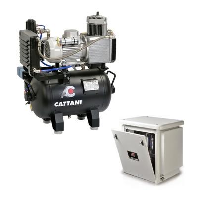 Фото - Cattani 30-67 - безмасляный компрессор для одной стоматологической установки, без осушителя, с кожухом, с ресивером 30 л, 67,5 л/мин   Cattani (Италия)