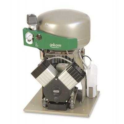 Фото - EKOM DK50 2VS/M - безмасляный компрессор для 2-x стоматологических установок с кожухом, с осушителем, с ресивером 25 л | EKOM (Словакия)