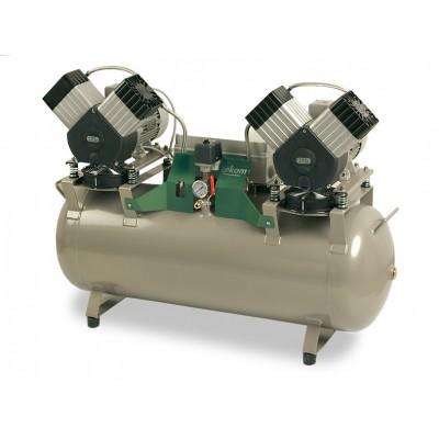 Фото - EKOM DK50 2X2V/110S - безмасляный компрессор для четырех стоматологических установок с кожухом, без осушителя, с ресивером 110 л | EKOM (Словакия)