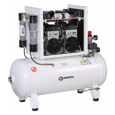 Фото - Remeza КМ-100.OLD15ТКД - безмасляный компрессор для 3-х стоматологических установок, с осушителем мембранного типа, с кожухом, с ресивером 100 л, 240 л/мин   Remeza (Белоруссия)