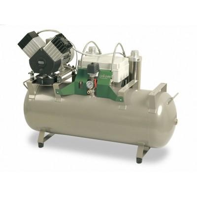 Product photo: EKOM DK50 2V/110S/M - безмасляный компрессор для двух стоматологических установок с кожухом
