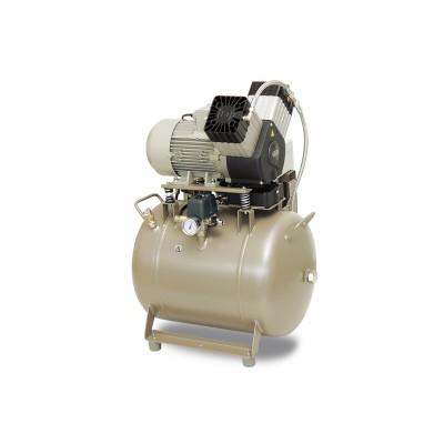 Product photo: EKOM DK50 2V/50/M - безмасляный компрессор для 2-x стоматологических установок без кожуха
