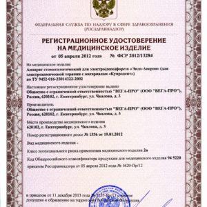 Регистрационное удостоверение - Эндо 1.0 - Аверон